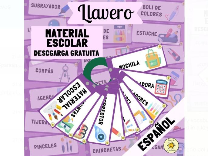 Material escolar: llavero de verbos. 42 cards. Spanish vocabulary on stationery. Flashcards/Display