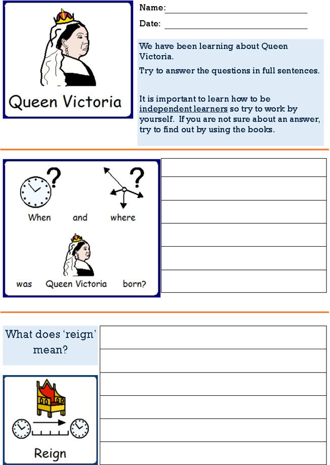 Victorians - Queen Victoria's Life. Structured PowerPoint and accompanying worksheet. SEN, ASD