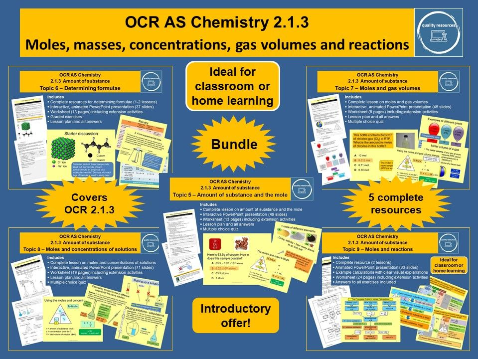 Moles, masses, concentrations, gas volumes and reactions OCR AS Chemistry