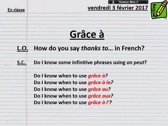 "GRAMMAR - Using ""grâce à"" - French - New AQA Spec GCSE"