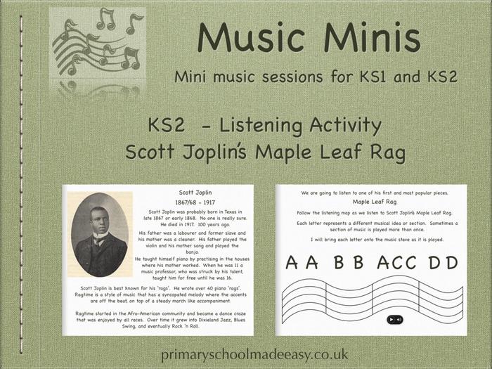 Mini Music Lesson - KS2  - Scott Joplin's Maple Leaf Rag