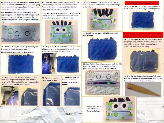 Monster Themed Fleece Pencil case step by step guide.