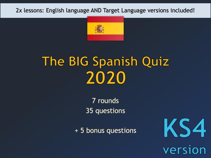 The BIG Spanish Quiz 2020 (KS4/GCSE version)