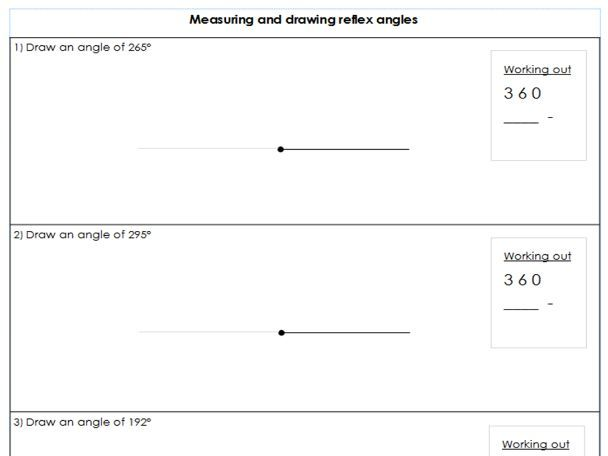 Year 5 / 6 - Measuring and Drawing reflex angles - Differentiated worksheets