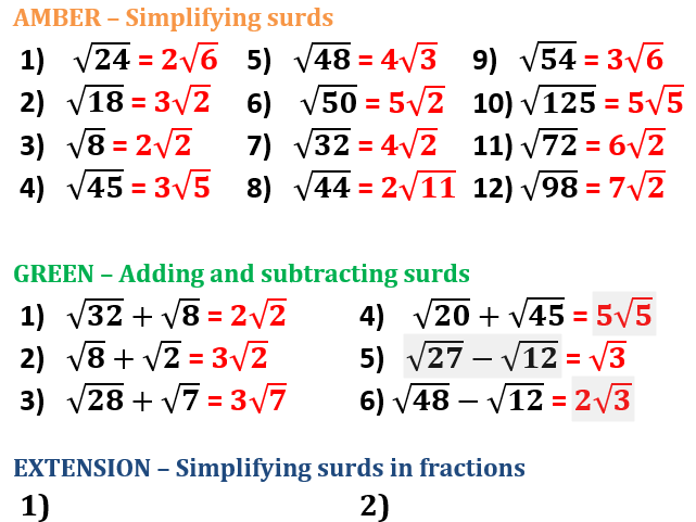 Simplifying Surds Differentiated Worksheet