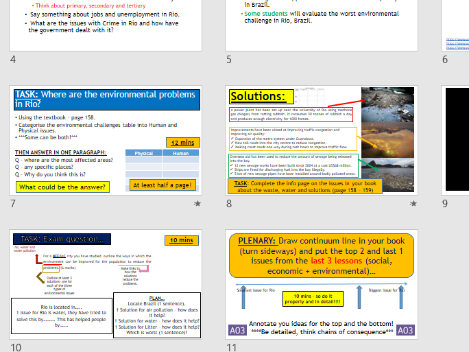 AQA URBAN CASE STUDY: Rio - Environmental Challenges (Lesson and Resources).