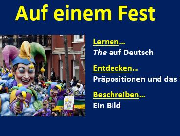 Year 8 German - Auf einem Fest
