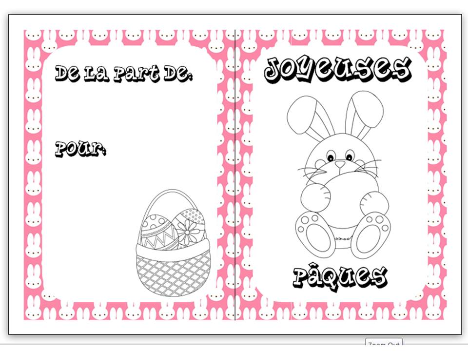 Easter colouring cards in French 1