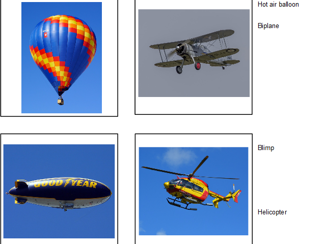Up In The Air - Air Transportation Matching Cards - Montessori