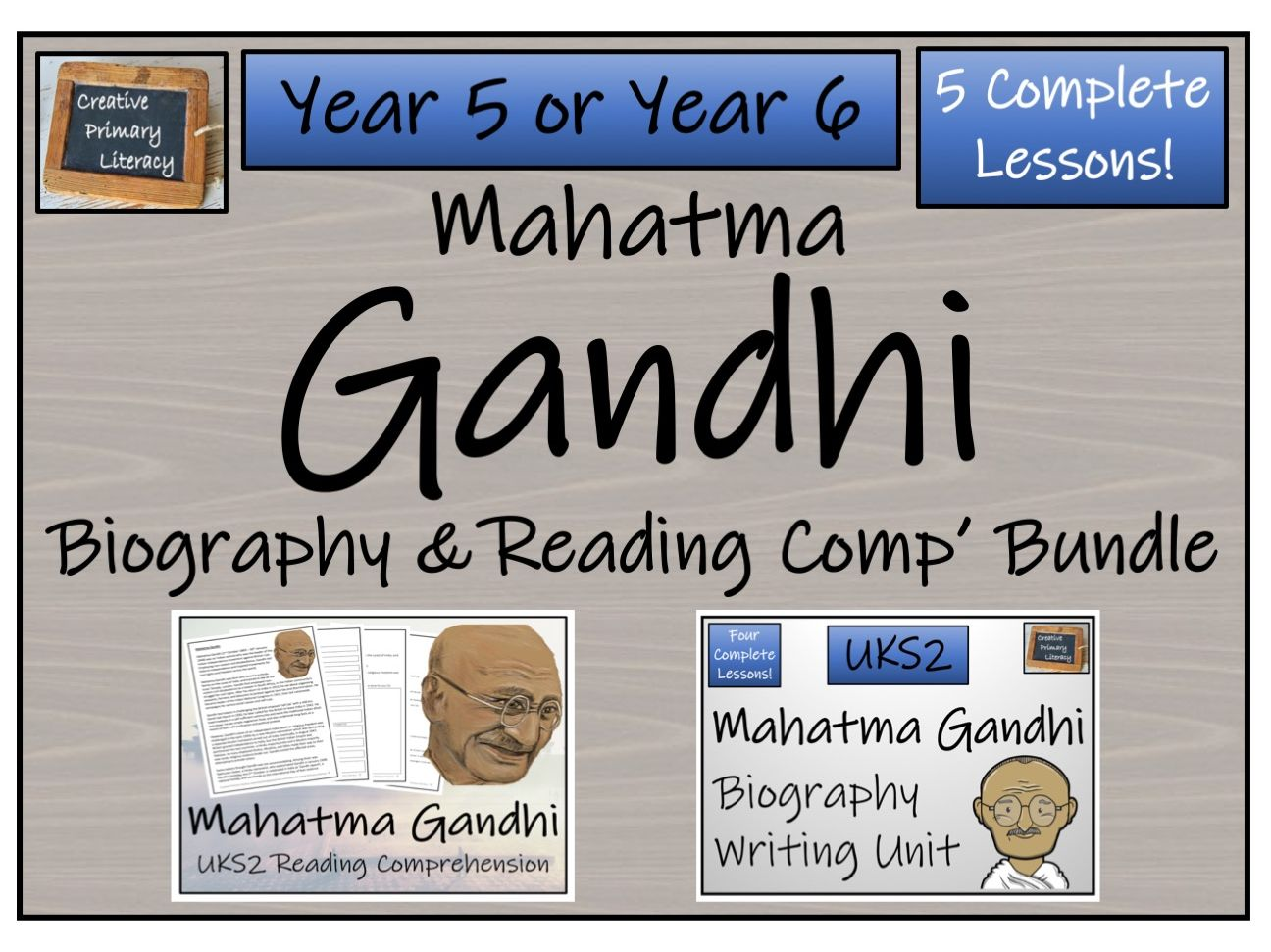 UKS2 History - Mahatma Gandhi Reading Comprehension & Biography Bundle