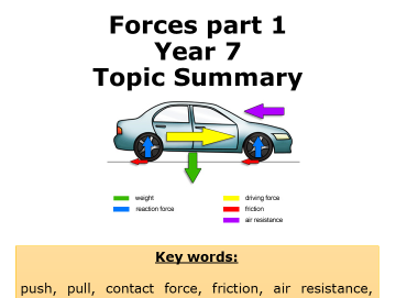 KS3 Forces summary booklet