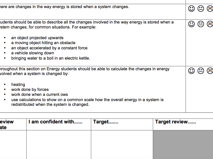 AQA Combined Science trilogy physics checklists Y10&Y11