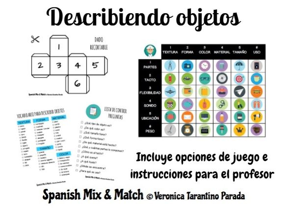 Printables and games for object description in Spanish