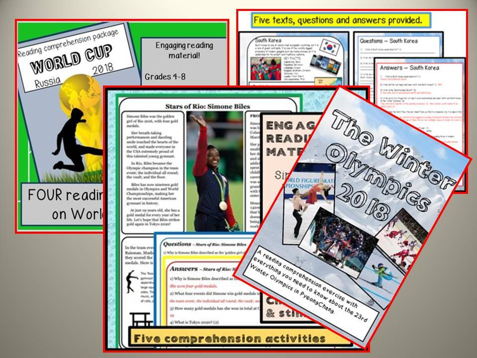 Reading comprehensions: Sporting events - Olympics, World Cup and Winter Olympics
