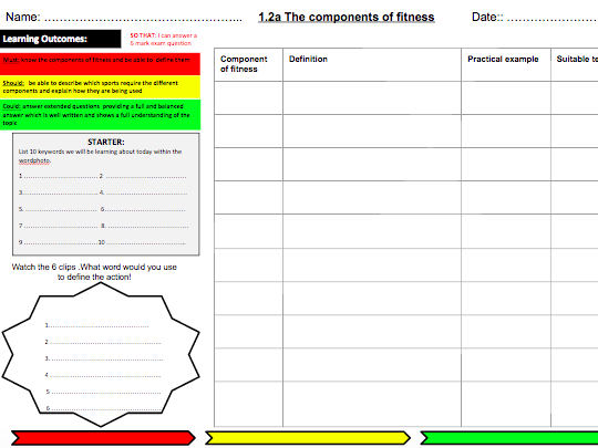 1.2.a Components of Fitness Learning Mat & Homework for OCR (2016)