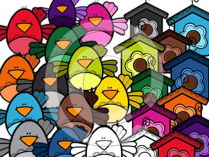 Birds Clip art-Rainbow
