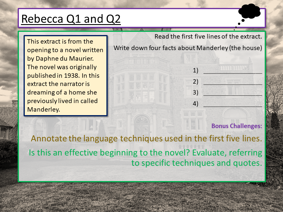 AQA English Language Paper 1 - Q1 and Q2 Rebecca