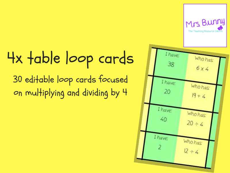 Four Times 4x Table Loop Cards Follow Me Cards