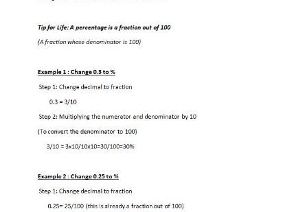 Changing Decimals to Percentages