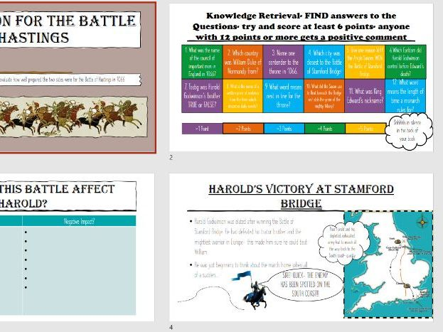 The Battle of Hastings Lessons and Assessment plus Feedback