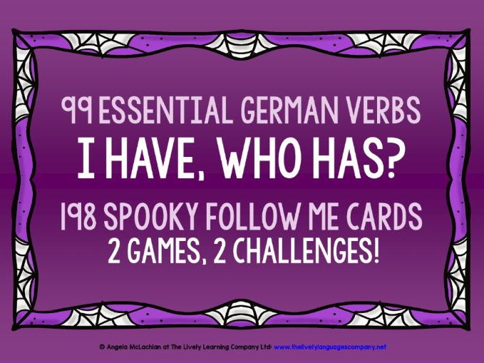 GERMAN VERBS HALLOWEEN GAMES FOLLOW ME I HAVE, WHO HAS?