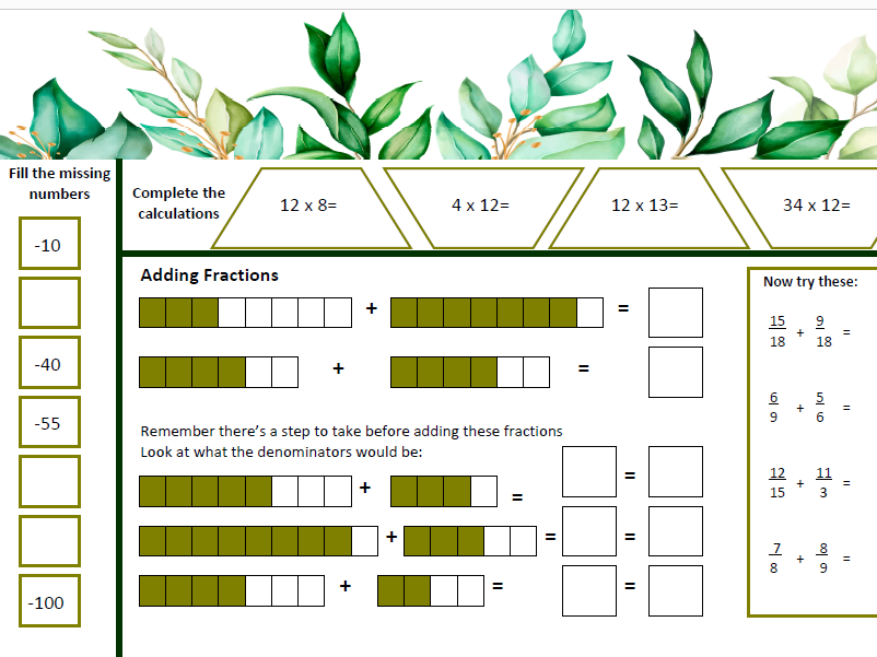 Fractions and Mixed Number Home Learning worksheets