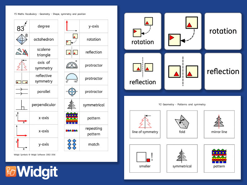 Patterns and Symmetry Pack - Maths Vocabulary with Widgit Symbols