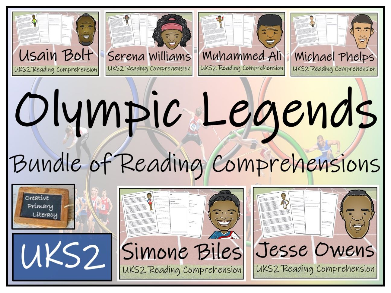 UKS2 Olympic Legends Reading Comprehension Bundle
