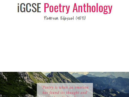 iGCSE Poetry Anthology