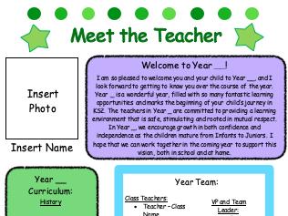 Meet The Teacher Poster for Parents