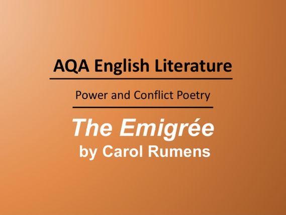 The Emigrée by Carol Rumens Lesson
