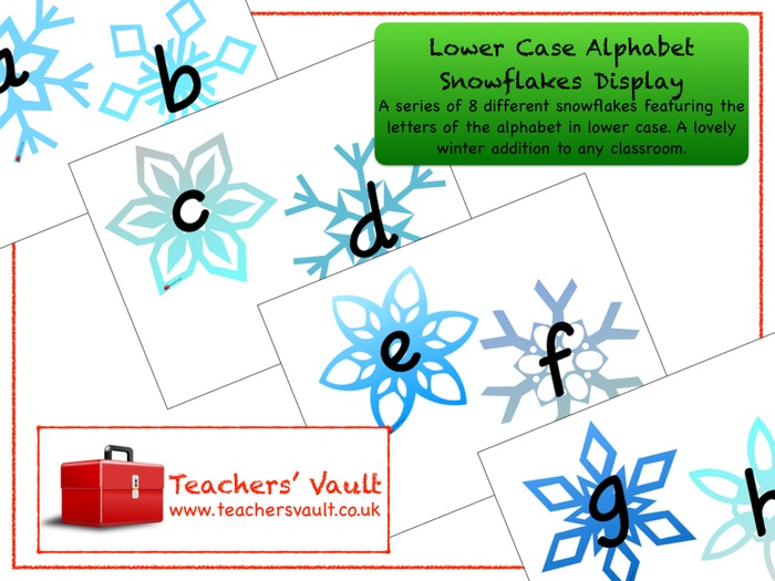Lower Case Alphabet Snowflakes Display