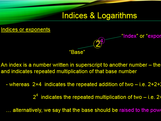 IGCSE Indices and Logarithms