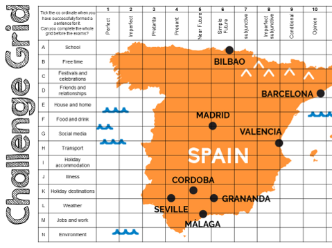 AQA Spanish Challenge grid