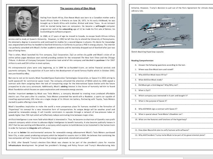 Elon Musk's success story - Reading Comprehension Worksheet/Vocabulary Worksheet