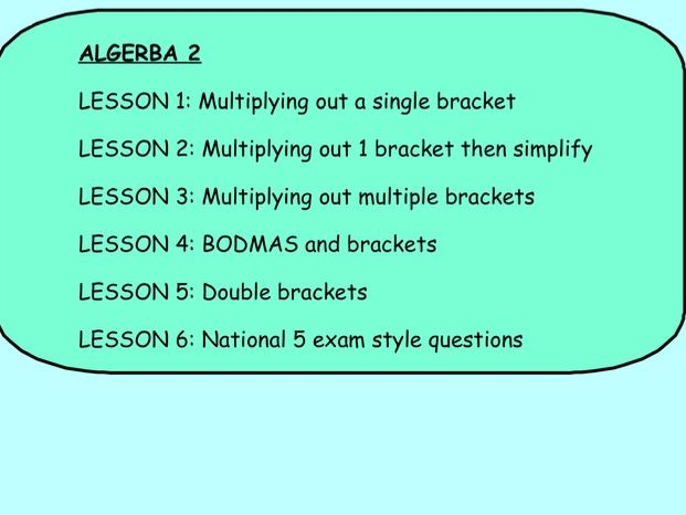 ALGEBRA 2: EXPANDING BRACKETS (includes 6 lessons)