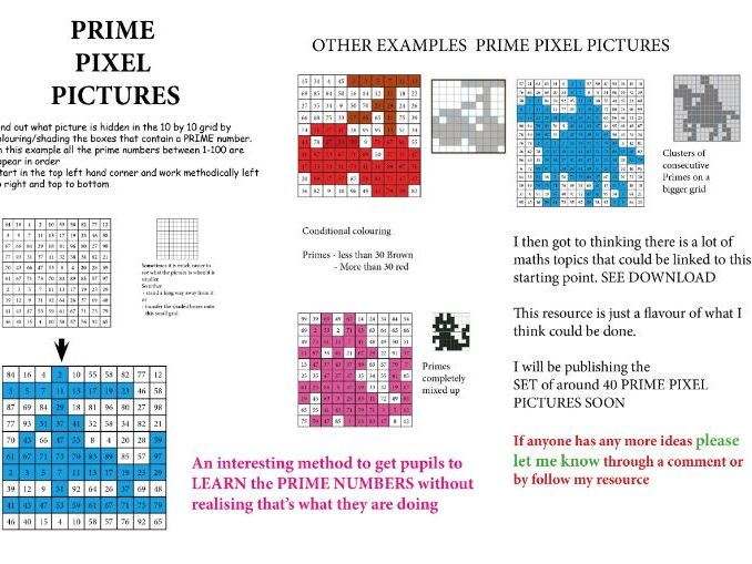 PRIME PIXEL PICTURES - An interesting way to get pupils to learn PRIME numbers