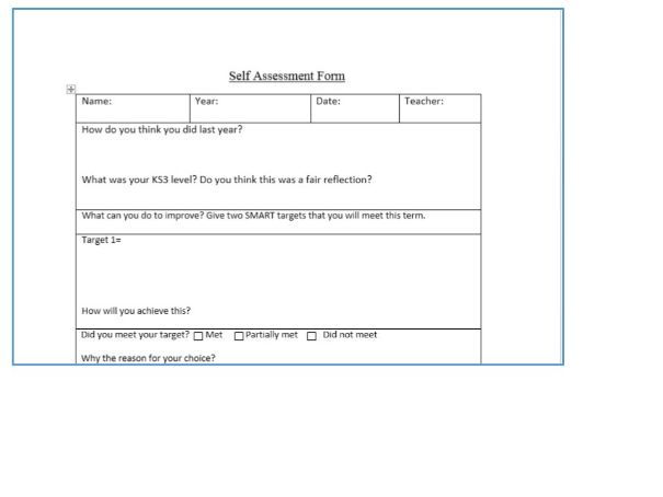 Self Assessment Form And Target Setting For Year  Free Resource By