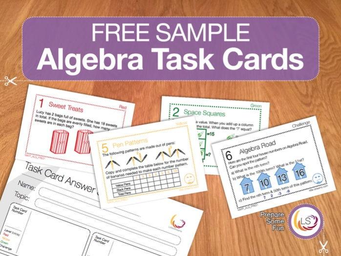 FREE Algebra Task Cards