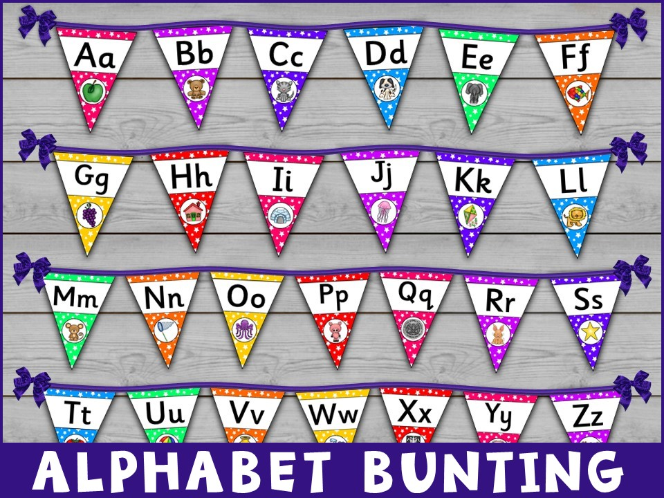 Display: Alphabet Precursive Font Bunting Kit