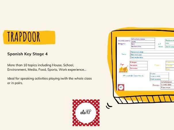 Trapdoor Spanish Speaking.11 Topics. Media, Food, School...