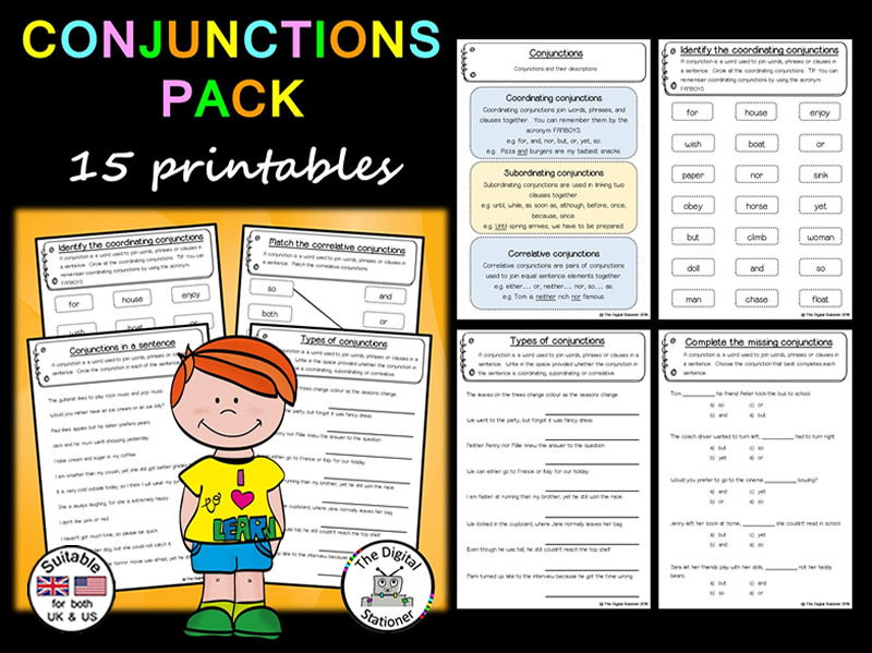 Conjunction Pack (Parts of Speech) – 15 printables