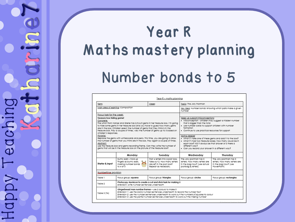 Maths mastery for Early Years - planning for number bonds to 5