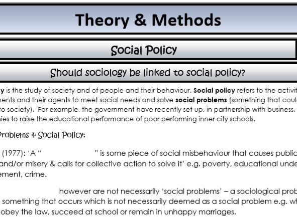 AQA Sociology - Year 2 - Theory & Methods - Social policy