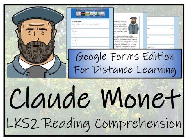 LKS2 Claude Monet Reading Comprehension Activity   Digital & Print