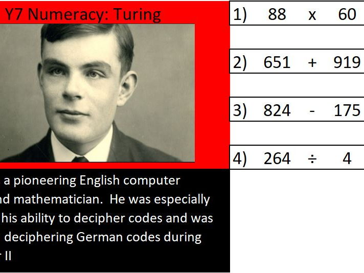 Basic skills maths starters  Level 1 of 6:  Turing
