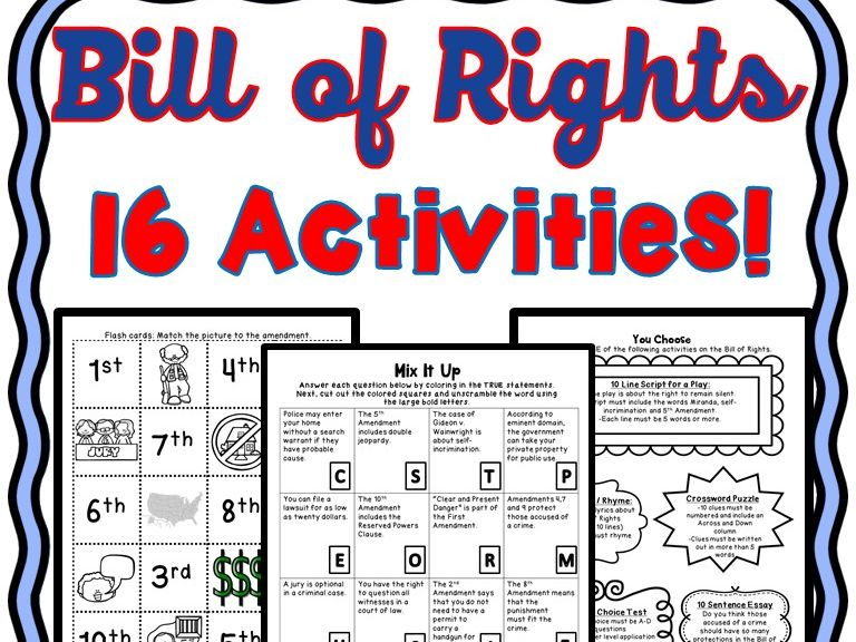Bill of Rights Activities - U.S. Constitution - Puzzles, Task Cards, Word Sorts