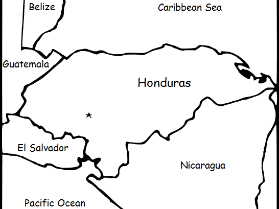 HONDURAS - Printable handouts with a map and flag to color