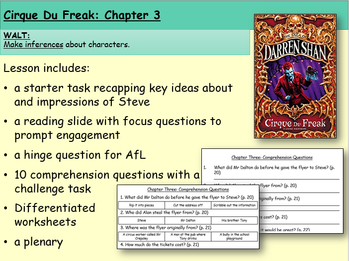 Cirque du Freak: Chapter Three (Reading and Comprehension)