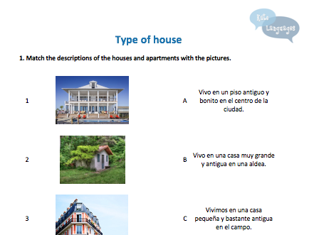 Key Stage 3 Spanish - Types of houses - New GCSE-style activities